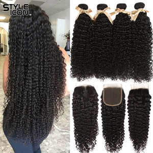 Malaysian Kinky Curly Bundles With Closure Curly Human Hair Bundles With Closure Styleicon 3 Bundles Curly Bundles With Closure(China)