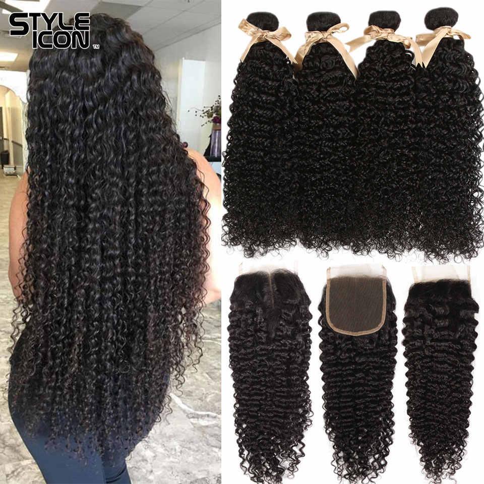 Malezya Kinky kıvırcık demetleri ile kapatma kıvırcık insan saçı demetleri ile kapatma Styleicon 3 demetleri kıvırcık demetleri ile kapatma