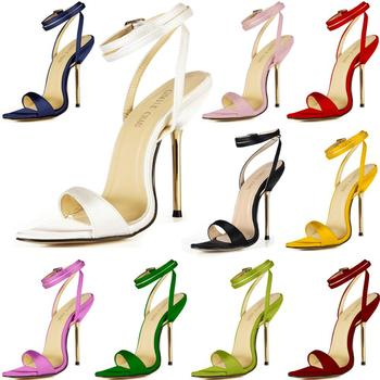CHMILE CHAU Satin Sexy Bridals Party Shoes Women Stiletto Iron High Heels Ankle Strap Buckle Lady Heeled Sandals 3845-i3 summer new 12cm high heeled sandals cross strap women sandals stiletto thin heel open toe sexy party bridals lady shoe 3a 4c