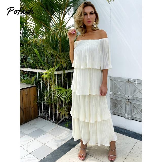 Pofash Chiffon Beige Solid Summer Dress Women Off Shoulder Cascading Ruffle Midi Dresses Female Backless Casual Vestidos 2021 1