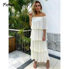 Pofash chiffon bege sólido vestido de verão das mulheres fora do ombro em cascata plissado midi vestidos femininos sem costas casuais 2021