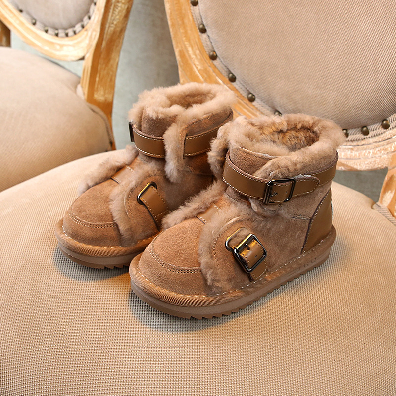 Image 2 - Winter Genuine Leather Warm Boys & Girls Shoes Children New Leather Buckle  Boot Warm Plush Outdoor Kids Snow Boot Toddler CHE06-in Boots from Mother & Kids