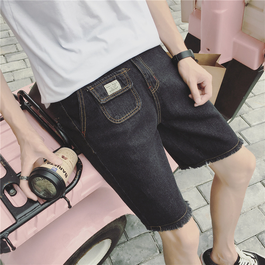 Summer With Holes Denim Shorts MEN'S Fifth Pants Korean-style Trend Breeches Retro Flash Beggar Casual In Pants