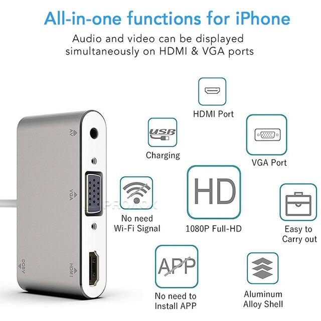 Pour la foudre vers HDMI VGA Audio adaptateur HD TV convertisseur avec prise 3.5mm Port casque Adaptador Compatible pour iPad téléphone X 8 7