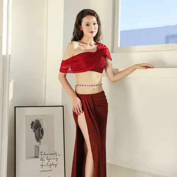 New Belly Dance Costume Female Elegant Goddess Oriental Dance Pop Song Training Suit For Women Bellydancing Clothing Top Skirt 2