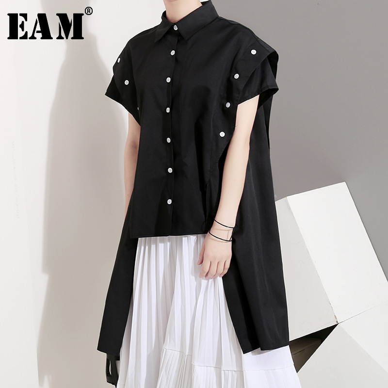 [EAM] Women Black Side Long Button Split Joint Blouse New Lapel Short Sleeve Loose Fit Shirt Fashion Spring Autumn 2019 JU317