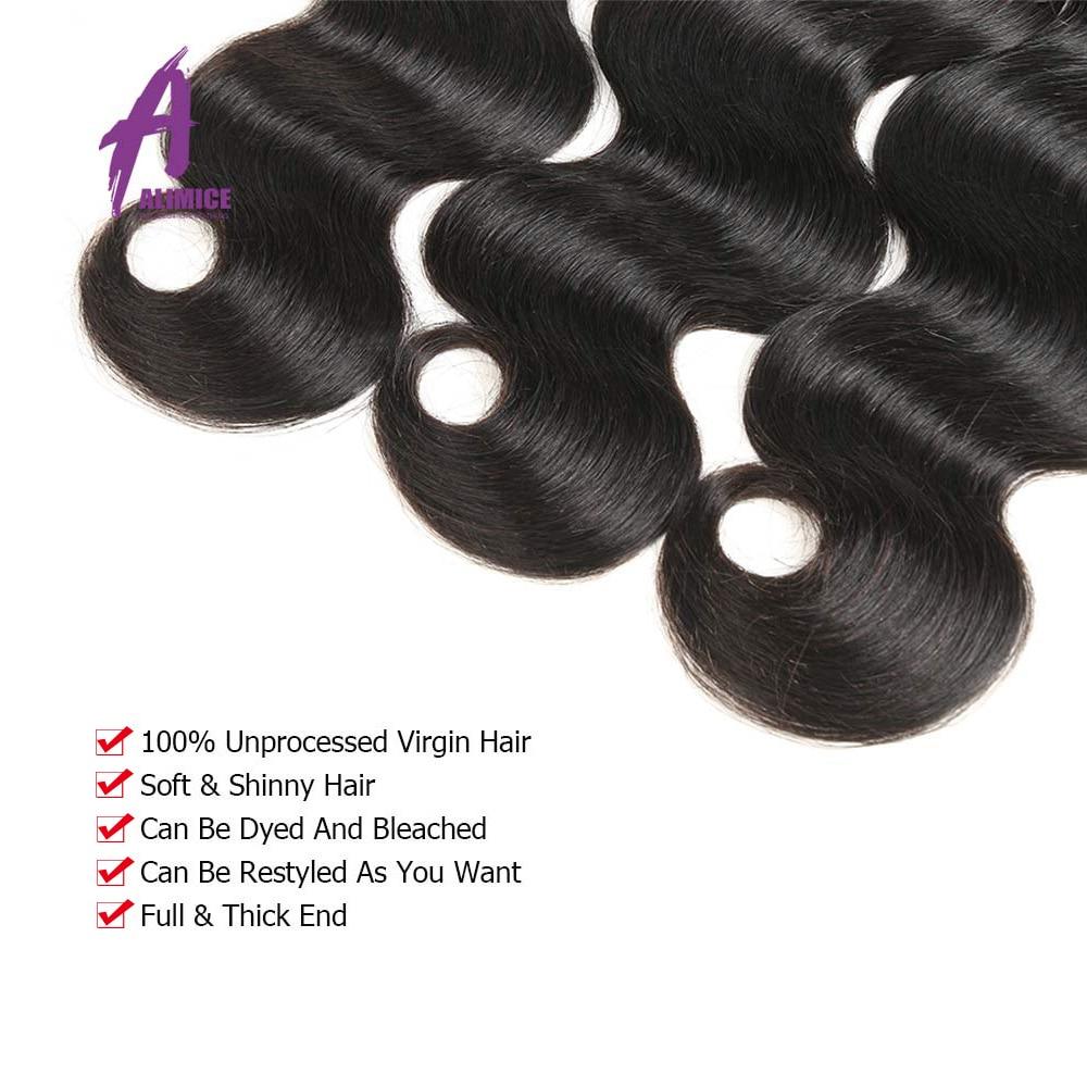Brazilian Body Wave Hair Bundles 8-28 Inches Human Hair Weave Bundles Natural Black Hair Extensions 3/4 Bundles Alimice Remy