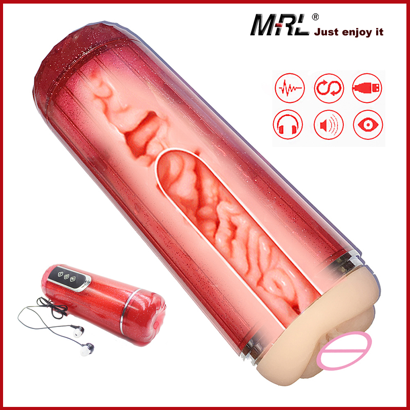 MRL Electric Male Masturbator Cup Vacuum Sucking Vibration USB Sex Machine Vagina Automatic Voice Sex Toys For Men