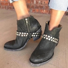 Boots Women Shoes Ladies Fashion Thick Heel Zipper Bordered Ankle Boots Ladies Platform Artificial Leather Shoes Bota Feminina boots women shoes woman fashion high heel lace up ankle boots ladies buckle platform bota feminina 2019 leather shoes female