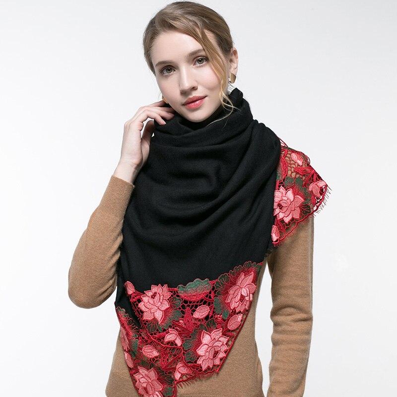 100% laine femmes écharpe de luxe noir broderie Floral châles et enveloppes pour dames fleur foulards silencieux chaud hiver laine écharpe