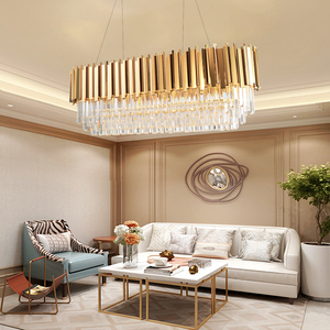 Image 4 - Manggic Modern Crystal Lamp Chandelier For Living Oval Luxury Gold Round Stainless Steel Line Chandeliers Lighting