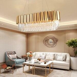 Image 4 - Manggic現代クリスタルランプシャンデリアリビングオーバル高級ゴールドラウンドステンレス鋼線シャンデリア照明