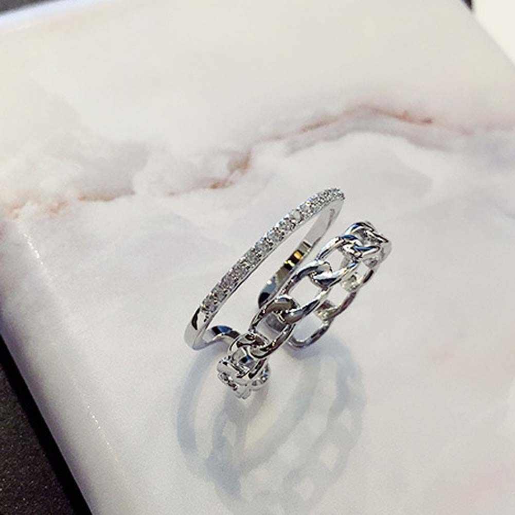 Модная винтажная двухслойная цепочка золотистое кольцо, простое паве со стразами, украшенное открытым кольцом, женское ювелирное изделие 2019