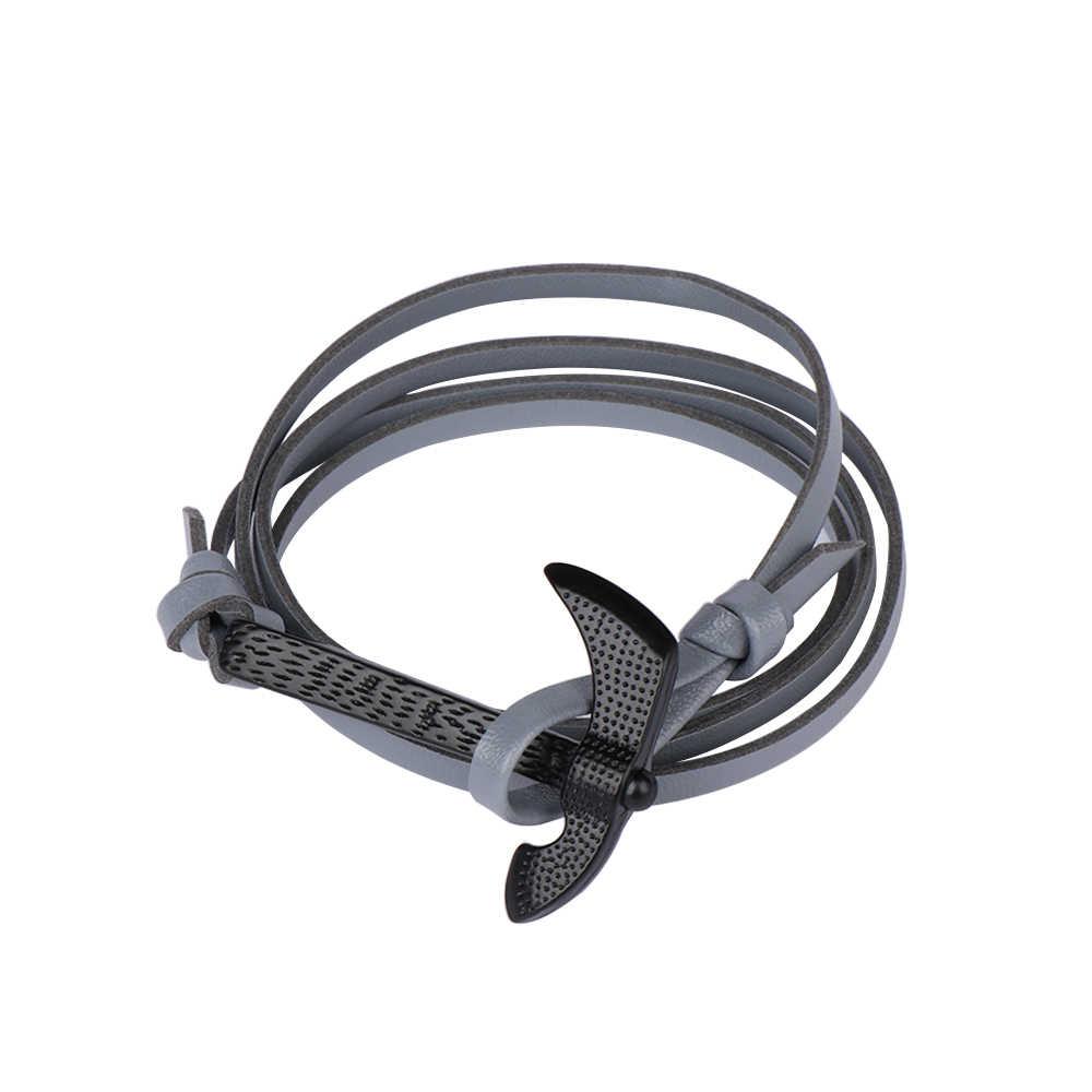Vintage Men Leather Wrap bransoletka nadgarstek czarny topór Punk ręcznie pleciony wielowarstwowe bransoletki dla mężczyzn biżuteria ręczna