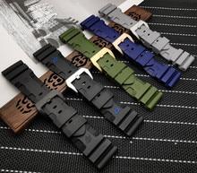 Pulseira de borracha de silicone 24mm 26mm, pulseira panerai de reposição, à prova dágua, ferramentas gratuitas de pulseiraPulseira do relógio