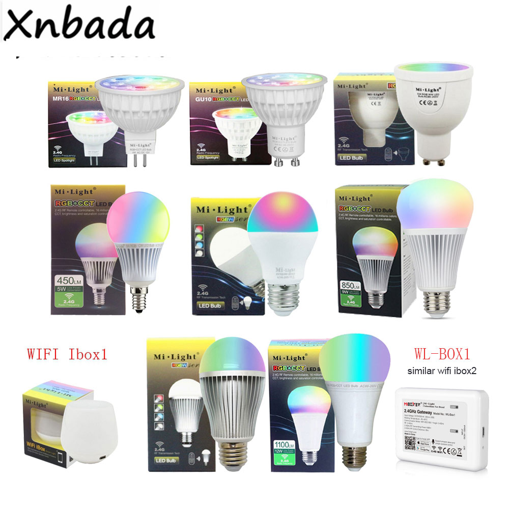 Milight 2.4G Led ampul, MR16 GU10 E14 E27 Led lamba akıllı kablosuz 4W 5W 6W 9W 12W CCT/ RGBW/RGBWW/RGB + CCT led ışık