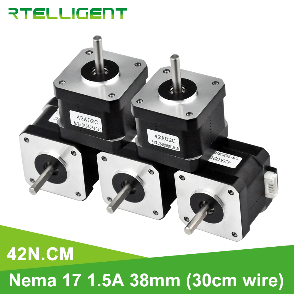Rtelligent 5PCS 42N.cm Nema 17 Stepper Motor 38mm 42motor 42BYGH (59.5oz.in) Stepper Motor For 3D Printer Printing CNC XYZ