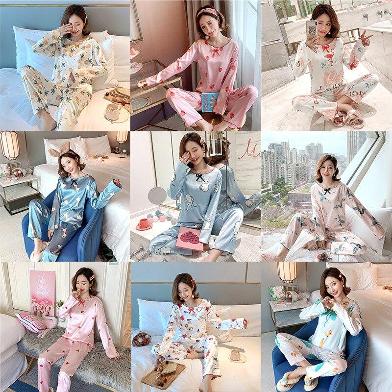 2020 New Style Autumn New Style Viscose 9 Image Collection Long Sleeve Women Pajamas Imitated Silk Fabric Homewear Set