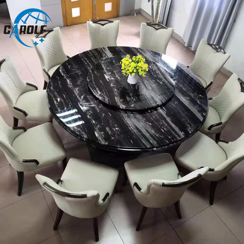 Top Furniture Large 10 Persons Black Marble Round Dining Table With Lazy Susan