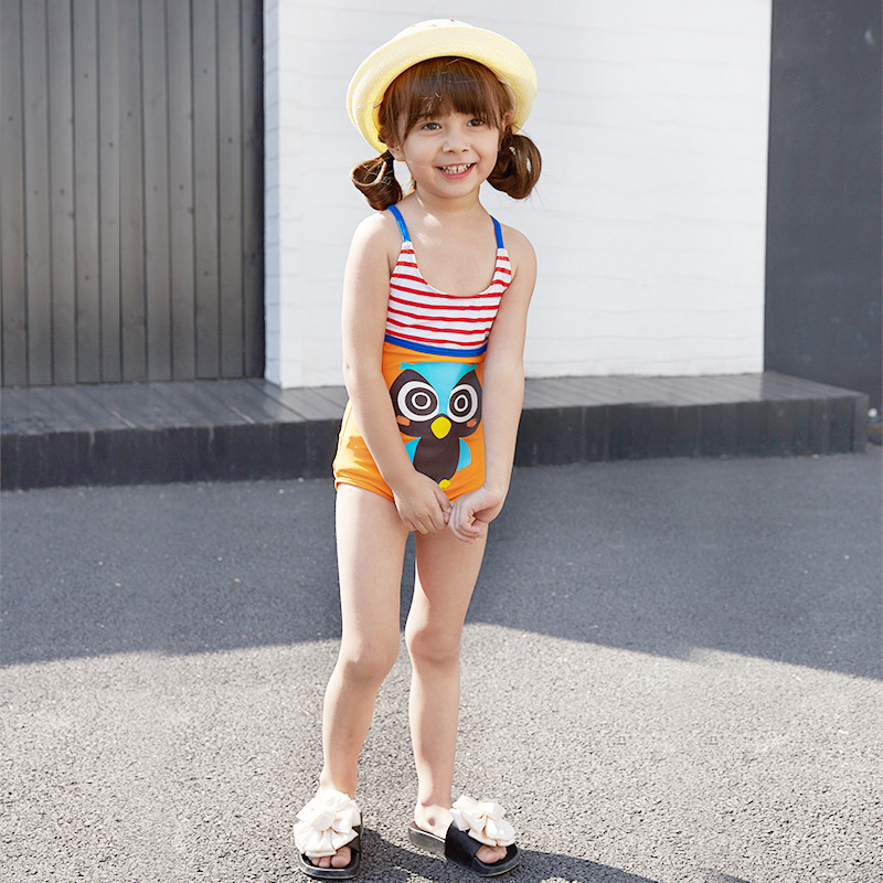 Girls Swimwear One-piece Camisole Swimwear Children Holiday Bathing Suit Comfortable Breathable Import And Export Large Amount