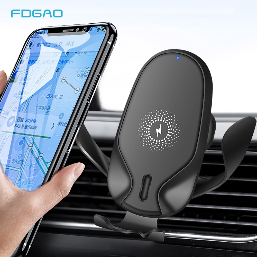 FDGAO 15W Fast Qi <font><b>Wireless</b></font> <font><b>Car</b></font> <font><b>Charger</b></font> 2 in 1 Mount For iPhone 11 Pro XS XR X 8 Gravity <font><b>Car</b></font> Phone Holder for Samsung S20 S10 S9 image