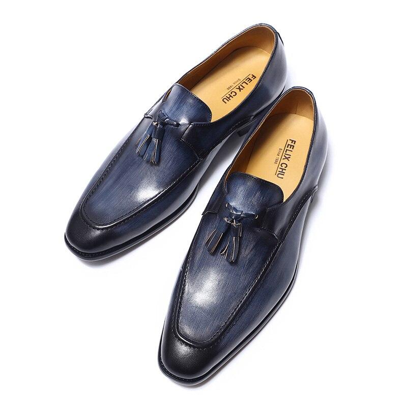 FELIX CHU 2020 hommes rue mode gland mocassins en cuir véritable marron chaussures formelles fête mariage hommes robe décontracté - 2