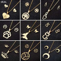 Stainless Steel Necklaces for Women 2020 Fashion Cat Crown Life Tree Moon Heart Necklaces Earings Show Your Love Jewelry Gifts