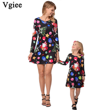 Vgiee Mother Daughter Dresses Christmas Dress Cotton Print Full Pattern for Cartoon Mommy and Me Baby Girl Clothes CC683