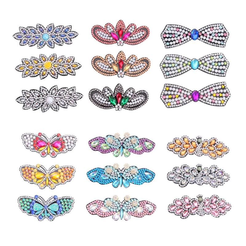 3pcs Bowknot Full Drill Diamond Painting Hair Clip DIY Rhinestone Hairpins