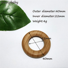 Nature Beech Wooden Ring Teether 40mm Wood Ring Baby Infants Teething Care