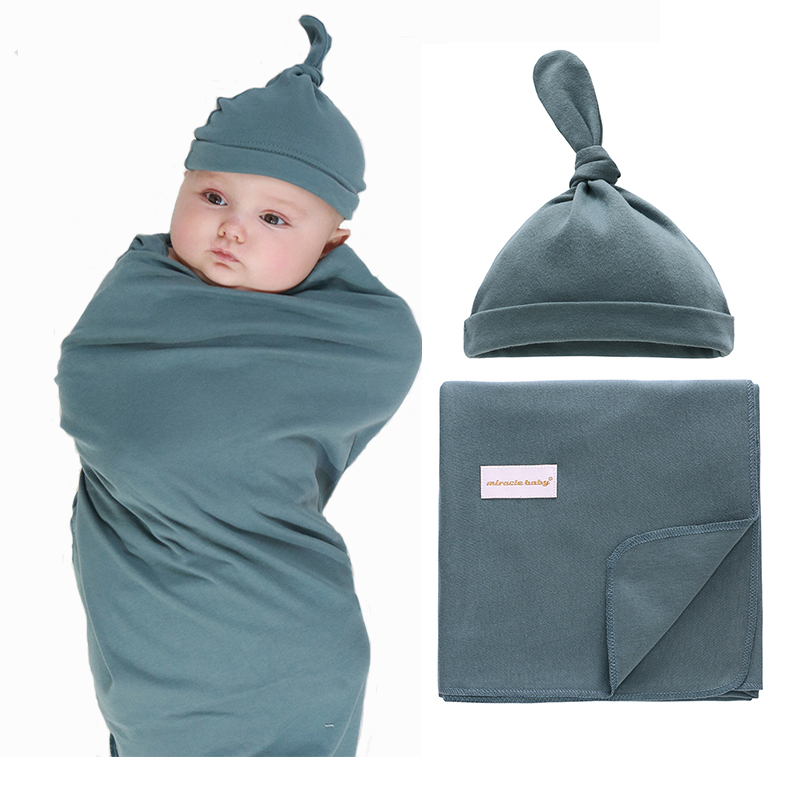 1 Set 0-6 Months Newborn Muslin Receiving Swaddle Blanket +Hat For Baby Boys Girls Infant Sleeping Bag Wrap Cloth