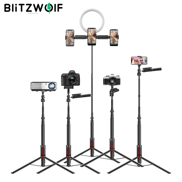 BlitzWolf BW BS11 Multifunctional Selfie Stick Tripod blutooth Remote Live Stream Balance Stabilizer for Phones Sport Camera