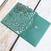 Rustic rose laser cut invitation pocket dark green diamond decor greeting cards personalized insert card printing 50pcs недорого