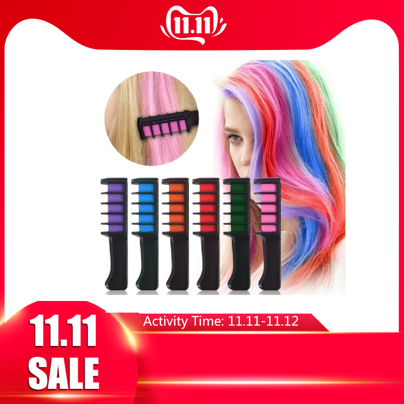 EASY! 1pc Personal Salon Use Mini Hair Dye Comb DisposableCrayons Grey Purple Red Hair Color Chalk Hair Dyeing Tool TSLM2