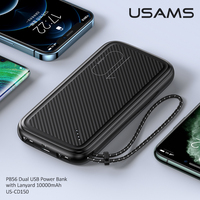 Usams Power Bank For iPhone 11 Pro Charger PowerBank 10000mAh With Hanging For Xiaomi 10 9 External Battery LED Display USB PowerBank