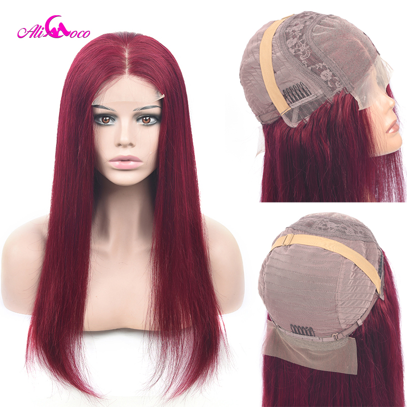 Ali Coco Hair Wig 99J Straight 4x4 Lace Front Human Hair Wigs For Black Women Brazilian 4x4 Closure Wigs 150% 180% Pre Plucked