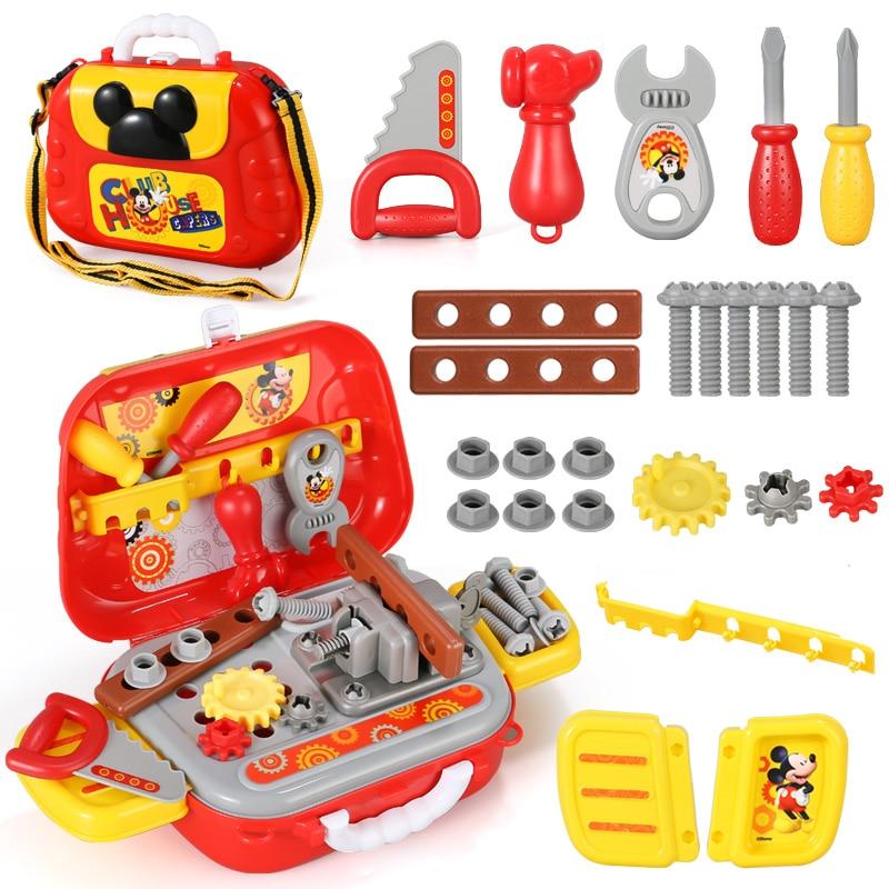 Disney Mickey Backpack Pretend Play Game Juguete Educational Xmas Birthday Boys Gifts Engineering Repair Tools Toys For Kids Box