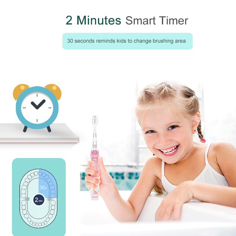 SEAGO children's electric toothbrush LED sonic kid's toothbrush with smart timer soft toothbrush Pink Green 2020 new for 3-12 ye