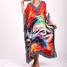 Размера плюс богемные днинные платья из хлопка с принтом Пляжная