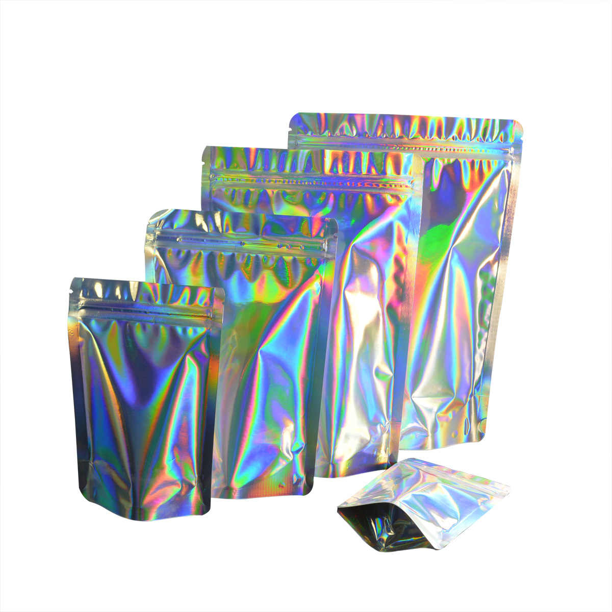 100 Pcs Zip lock Plastic Bag Aluminum Foil Hologram Food Mylar Pouch Smell Water Proof Zipper Reclosable Pouches