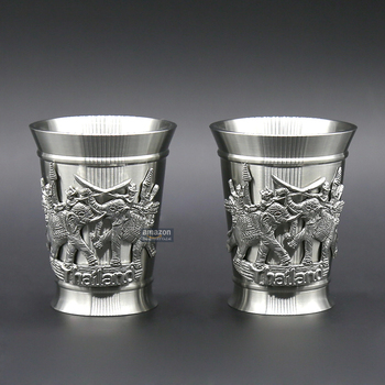 Oriental Pewter - Liquor Cup Pewter Pure Tin 97% Lead-Free TBB07 Beautiful Embossed w/Fighting Elephant Handmade in Thailand