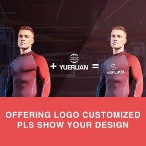 Image 2 - Yuerlian 2019 liberação ginásio tshirt para homens logotipo personalizado calças de fitness masculino rashgard esporte camisa homem compressão ginásio camisa