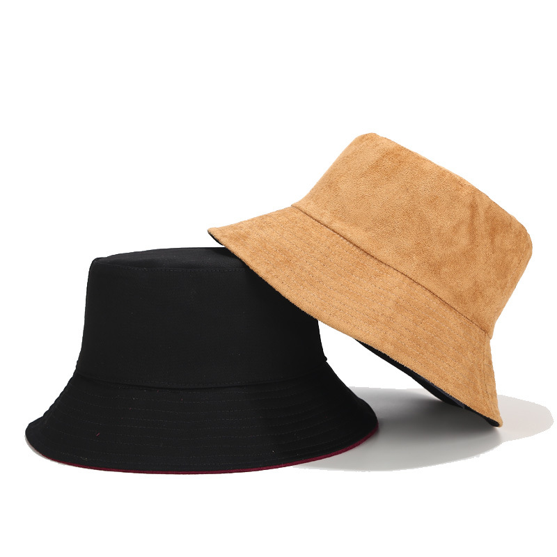 New Suede Loose Fisherman Hat Men And Women Solid Color Light Board Double-sided Wearing Basin Cap Autumn Winter Outdoor Sun Hat