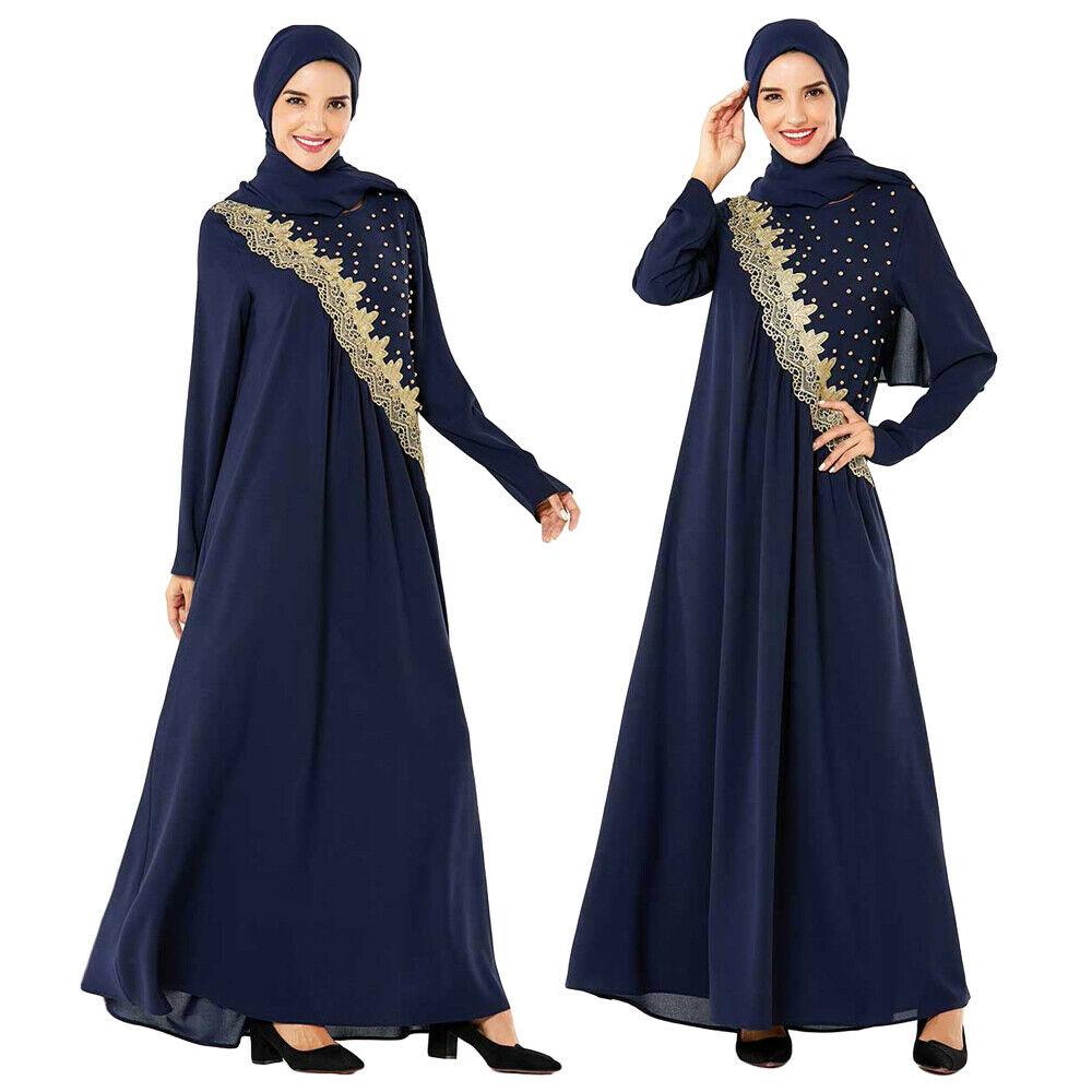 Muslim Women Embroidery Maxi Abaya Dress Arab Long Sleeve Jibab Kaftan Clothes