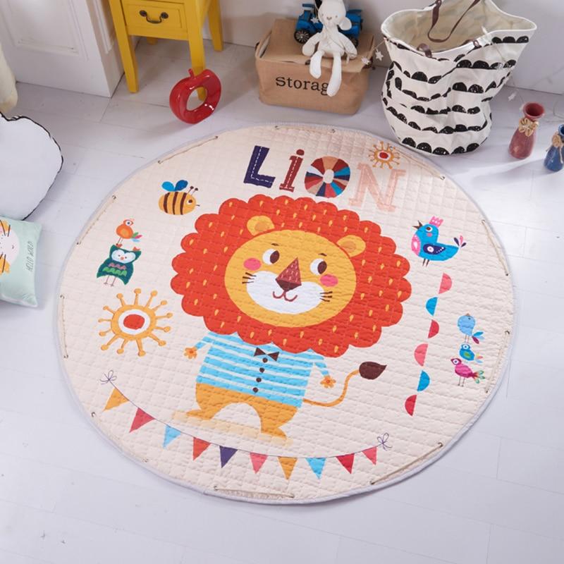 H6006072bd5634786afed6252c36adb69B Kid Soft Carpet Rugs Cartoon Animals Fox Baby Play Mats Child Crawling Blanket Carpet Toys Storage Bag Kids Room Decoration