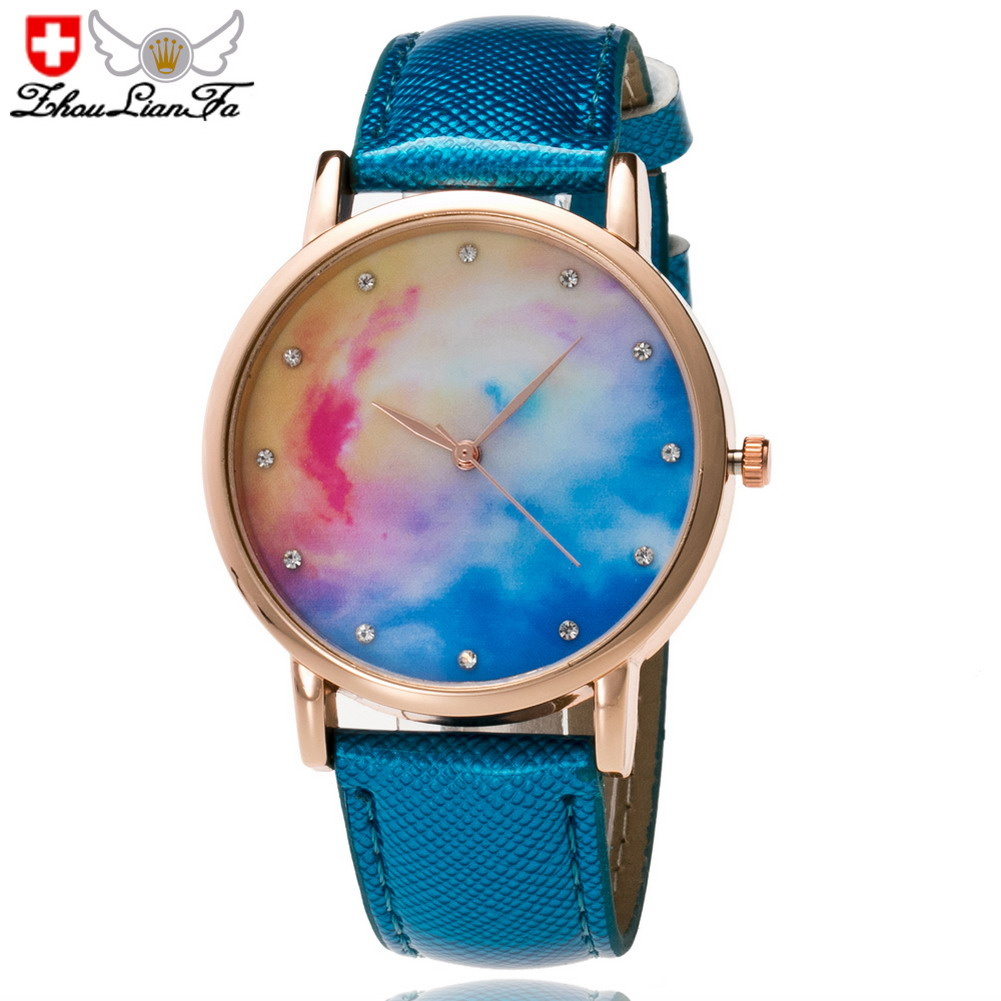 Quartz Watch PU Leather Belt Starry Dial Pattern Watch Gifts For Women Couples LL@17
