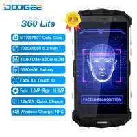 DOOGEE S60 Lite IP68 Charge sans fil robuste 4GB 32GB 5580mAh 12V2A Charge rapide Octa Core 5.2 ''FHD 16MP caméra Smartphone