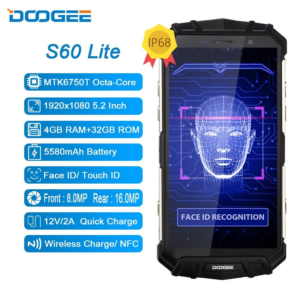 Doogee S60 Lite IP68 Robuuste Draadloze Lading 4Gb 32Gb 5580Mah 12V2A Quick Lading Octa Core 5.2 fhd 16MP Camera Smartphone