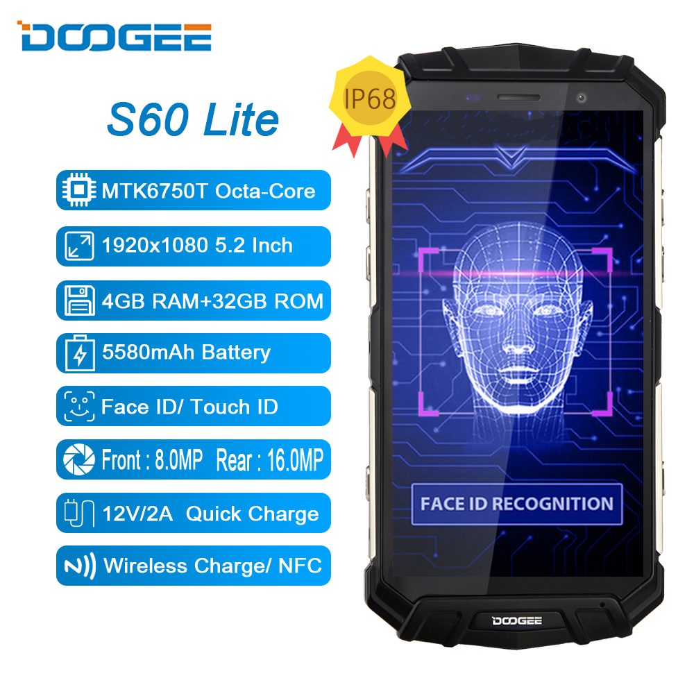 Doogee s60 lite ip68 carga sem fio áspera 4 gb 32 gb 5580 mah 12v2a carga rápida octa core 5.2 smartphone smartphone fhd 16mp câmera smartphone