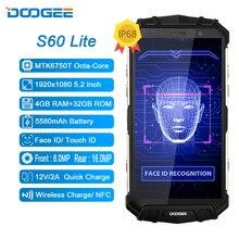 Doogee s60 lite ip68 carregador sem fio robusto, 4gb 32gb 5580mah 12v2a carga rápida octa core 5.2 fhd smartphone com câmera de 16mp